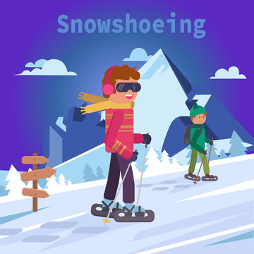 Men on mountain in snowshoes, flat vector illustration