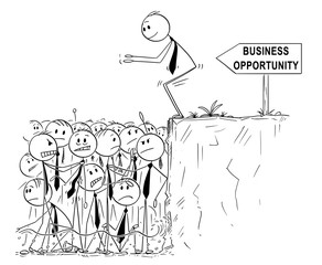 Cartoon stick man drawing conceptual illustration of businessman looking for business opportunity is ready to jump in shallow water of saturated or oversaturated market. Business metaphor.