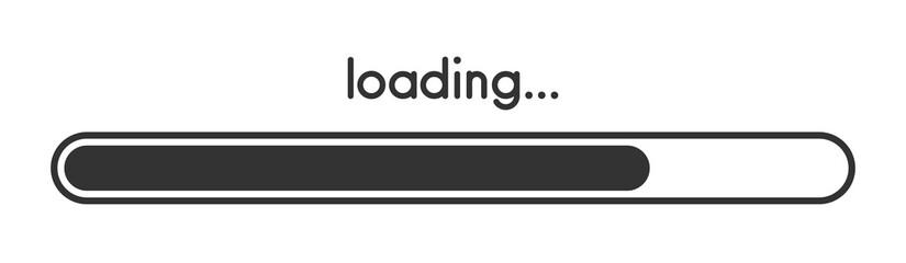 Loading progress bar. Black scale.