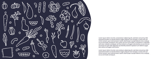 Set of vector vegetables doodle composition.