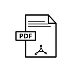 Vector image flat icon black color PDF document format, isolated on white background