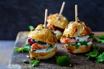 Brioche buns with hot smoked salmon, beetroot, salad and yogurt dressing