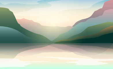 Low poly beautiful landscape with sunrise and water. Vector illustration.