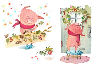 Piglet decorates the house for the New Year