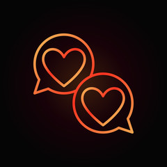 Hearts in speech-bublle red outline icon. Vector two speech bubbles with hearts linear sign on dark background