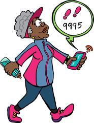 Senior lady walking counting steps Marie-Christine