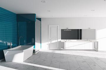 Hotel bathroom concept. Modern architecture interior design, 3d render