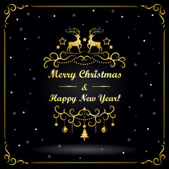 New Year and Christmas greeting card with reindeers and snowflakes on black background.