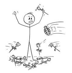 Cartoon stick drawing conceptual illustration of man on stage to who was given standing ovation and flowers are thrown from audience. Hand grenade is thrown instead of one rose. Metaphor of envy and