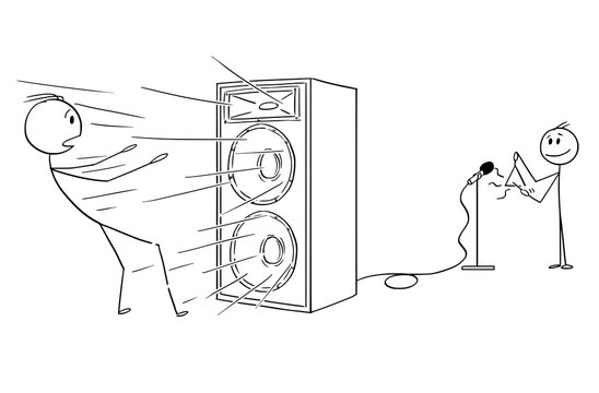 Cartoon stick drawing conceptual illustration of man blow away by loud and powerful sound from amplifier created by small boy or child playing on triangle. Metaphore