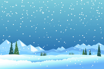 Winter landscape with mountains and snowfall