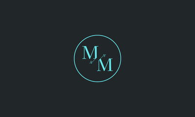 LETTER M AND M FLOWER LOGO WITH CIRCLE FRAME FOR LOGO DESIGN OR ILLUSTRATION USE