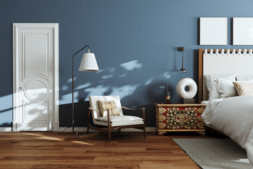 Cozy modern bedroom with lounge chair and floor lamp. 3d render