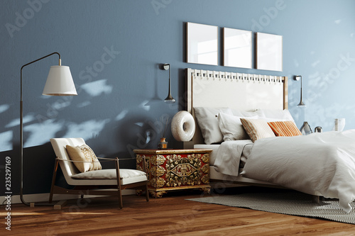 Cozy modern bedroom with lounge chair and floor lamp  3d