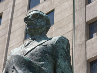 Detail of monument to Chilean statesman and political figure. Salvador Allende in Santiago de Chile