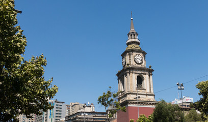 The church of San Francisco, Catholic temple and old convent, in the Alameda, the main avenue of Santiago de Chile.