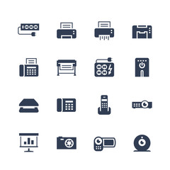 Electronics and gadgets icon set: surge suppressor, printer, shredder, multifunction device, fax, plotter, UPS, scanner, phone, projector, screen, photo camera, video camera, web camera