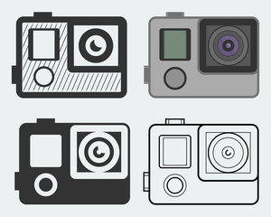 Action camera vector icons as silhouettes, in thin line style and flat design