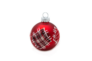 a chirstmass red  ball  bauble isolated on white background