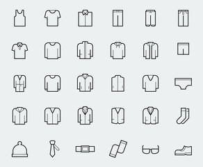 Men's clothing icons in thin line style