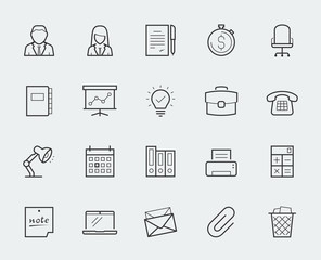 Office elements thin line icon set