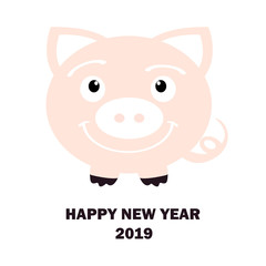 Happy New Year. 2019. Year of pig. White background. Vector illustration