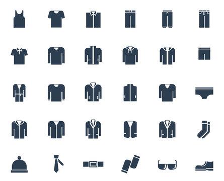 Men's clothing vector icon set