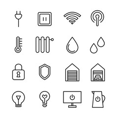 Set of Smart House Related Vector Line Icons.