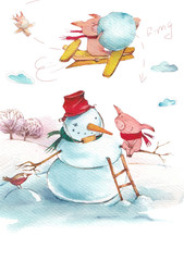 Winter piglet fun