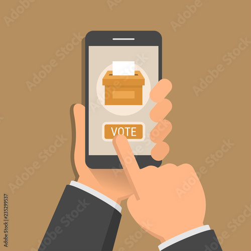 Hand holding smartphone with voting app on the screen, flat