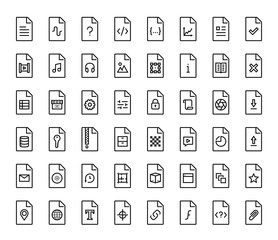 File types vector icon set in thin line style