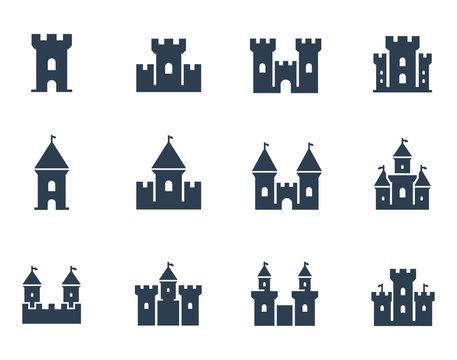 Vector medieval castles icon set