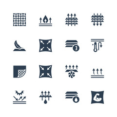 Fabric technology and properties vector icon set