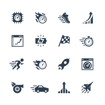 Performance and velocity vector icon set