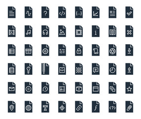 Different file types vector icon set
