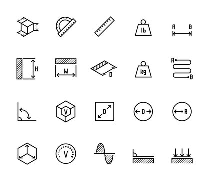 Measuring related vector icon set in thin line style