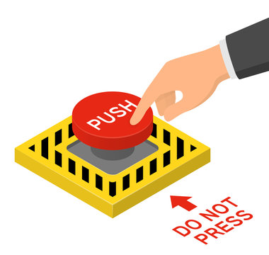 Hand pressing red emergency button. Isometric vector illustration