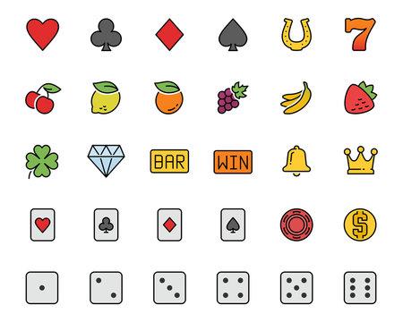 Vector slot machine symbols and casino colorful icon set