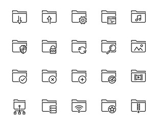 Folders related vector icon set in thin line style