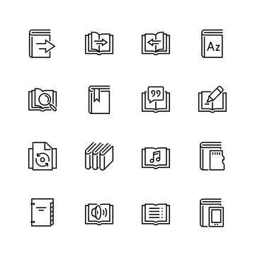 Ereader interface related vector icon set in thin line style