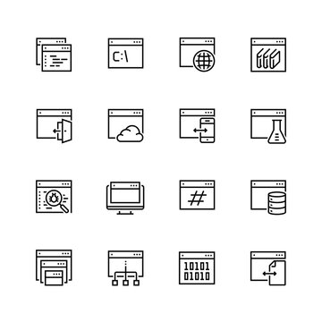 Programming, coding applications vector icon set in thin line style