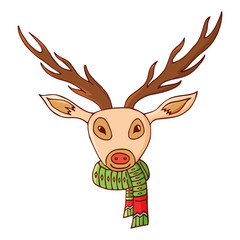 Deer head in a scarf.