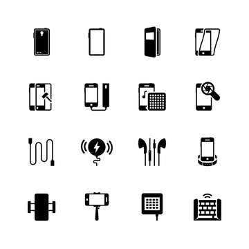 Smartphone accessories vector icon set