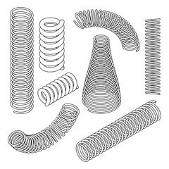 Springs collection in isometric view and thin line style