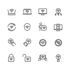 Wifi related vector icon set in thin line style with editable stroke