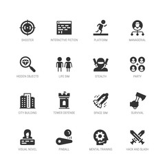 Video game genres vector icons set in glyph style #2