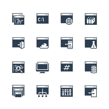 Programming, coding applications vector icon set