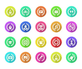 Achievements vector icon set in flat with shadow style