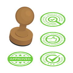 Approved and quality control stamps. Vector isometric illustration