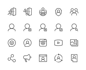 Social media and network vector icon set in outline style